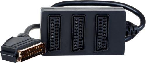 AQ KV202 - adaptér z 1 x SCART M konektoru na 3 x SCART F konektor