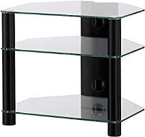 RX 2130 C BLK - hifi stolík 3police, čierny, číre sklá
