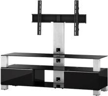 MD 8143 B-HBLK-WHT - stolík čierna skla, čierny lesk, biela