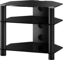 RX 2130 B-HBLK - hifi stolík 3 police, lesklý čierny, čierna skla