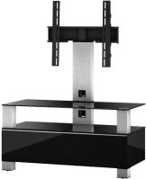 MD 8953 B-INX- BLK - stolík čierna sklá, nerez, čierna