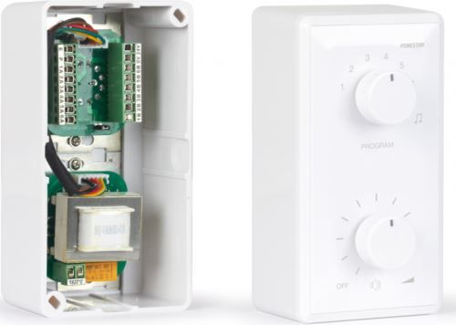 Fonestar AT-260SR - 100V nástenný regulátor hlasitosti s prepínačom 6-tich vstupov a krab.