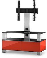 MD 8953 B-INX- RED - stolík čierna sklá, nerez, červená
