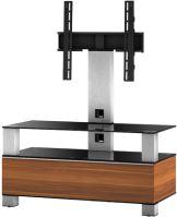 MD 8953 B-INX- WNT - stolík čierna sklá, nerez, orech
