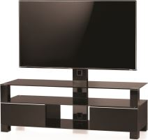 MD 8143 B-BLK-BLK - stolík čierna skla, čierny, čierna