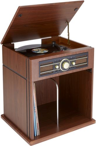 BIGBEN TD104 - gramofón s úložiskom na dosky, rádiom a USB